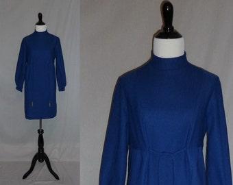 60s Blue Dress - Mini or Short Dress - Gold Metal Dangles - Long Sleeves - Vintage 1960s - S M