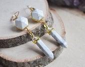 White Howlite Earrings, Howlite Point Earrings, Howlite Earrings, Geometric Earrings, 14k gold filled Earrings, Semi Precious Stone Earrings