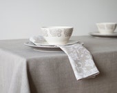 Natural Linen Tablecloth With Borders Simple Grey Linen Tablecloth Easter Table Decor Gray Tablelinens Eco Friendly Tablecloth