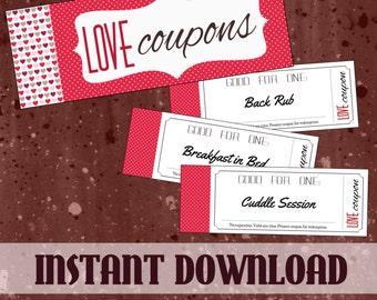 Printable Love Coupon Book for Him or for Her with BONUS Naughty Coupons - Instant Gift for Boyfriend, Girlfriend, Husband or Wife