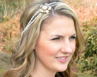 Grecian Bridal Headband - Ivory Pearl Wedding Headband - Mother of Pearl Wedding Headband - Tie Headband - Gold Wedding Hair Piece
