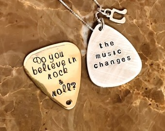 The Music Changes, Personalized Guitar Pick, Hand Stamped with Your Words, Monogram, Name, Silver, Gold, Copper Guitar Pick, Custom Stamped