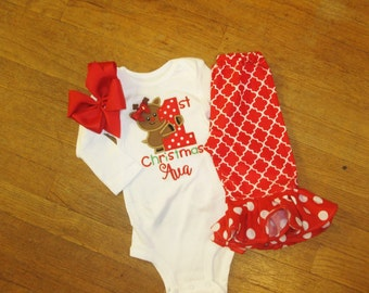 Christmas Boutique Ruffle Pant Set Red Quatrefoil Polka Dot Made to Match Bow 1st Christmas Personalized Holiday Pant Set Girls Baby Newborn