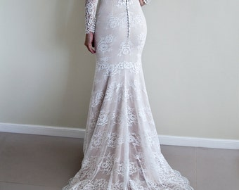 Lace Wedding Dress with Long Sleeves, Illusion Lace Back, Illusion Neckline Wedding Dress, Boho Wedding Dress