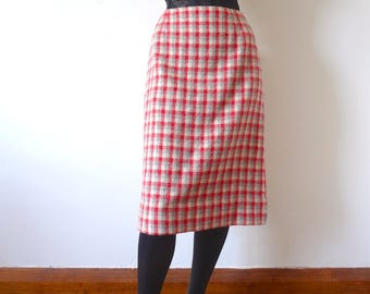 1960s Wool Skirt - plaid a-line - vintage preppy fashion for fall & winter
