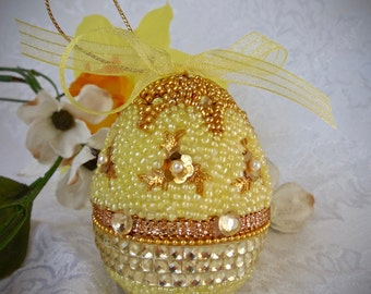 Faberge-like Beaded Egg Ornament Yellow Band