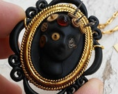 """Steampunk Hypnotique Cameo Royale Creme Perfume Locket """"The Phantom"""" Painted Black Gold Tone Jewery Necklace"""