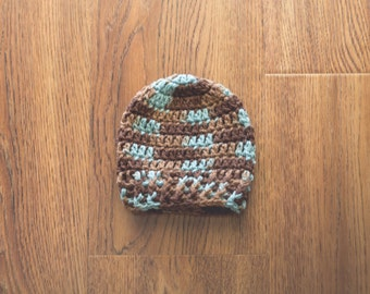 Newborn Boy Hat, Baby Boy Crochet Hat, Newborn Photography Prop, Brown and Aqua Boy Hat