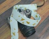 Valentine's Day Gift for Photographers - dSLR Camera Strap - Gold Metallic on Mint Green - Birds in Flight - Nikon Camera Strap