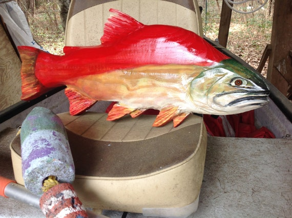 Sockeye salmon chainsaw wooden carving by
