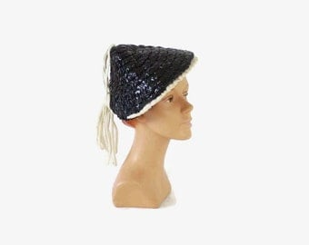 Vintage 40s TILT HAT / 1940s NAVY Blue Keneth Hopkins Glossy Cello Comical Hat with White Cotton Loop Trim