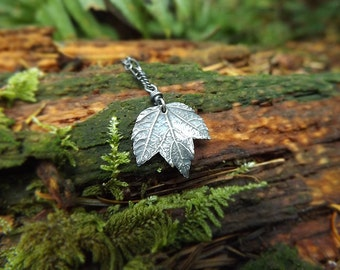 Acer - Tiny Maple Leaf - Fine Silver Real Botanical Leaf Pendant  by Quintessential Arts