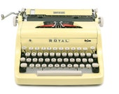 RESERVED / 1955 Yellow Royal Quiet De Luxe Typewriter, Professionally Serviced, Yellow Typewriter, Royal Typewriter, Working Typewriter