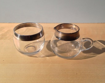 Silver Band Cream and Sugar / Mad Men Style Roly Poly Glass / Dorothy Thorpe Glass Creamer and Sugar Bowl