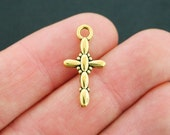 10 Cross Charms Antique Gold Tone 2 Sided - GC619