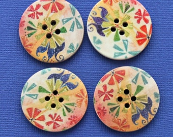 6 Large Wood Buttons Floral Abstract Design 30mm BUT91