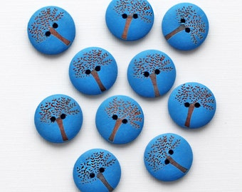 10 Tree of Life Wooden Buttons for Sewing and Crafting - BUT465