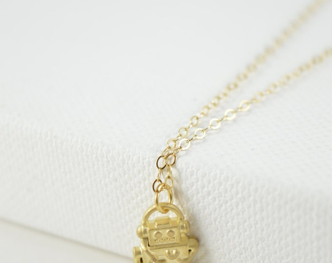 Robot Charm Necklace, gold plated robot, christmas gift, holiday jewelry, valentines gift, cute tiny robot necklace, nerd, geek, geekery