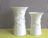 Set of Two Op Art Signed Frey White Matte German Porcelain Vases Daisies by Kaiser