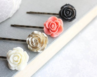 Rose Bobby Pins Ivory Cream Floral Hair Accessories Charcoal Grey Rose Hair Clip Coral Rose Bobbies Flowers for Hair Gold Rose Hair pins