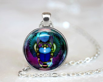 Scarab Necklace Glass Tile Necklace Egyptian Necklace Glass Tile Jewelry  Egytian Jewelry Scarab Jewelry Black Necklace