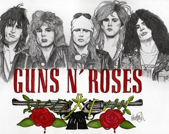 Guns N Roses - Drawing, Art, Illustration, Fashion, Portrait, Mix Media Painting by Paul Nelson-Esch Rock Pop 80s Free Worldwide Shipping