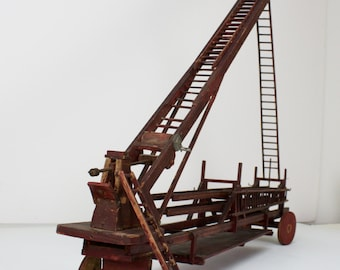 Folk Art Hook & Ladder Toy PRICE REDUCED