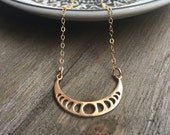 Lunar Phases Necklace // 14k Gold Fill