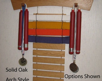 Solid Oak Arch Style Martial Arts Rank Belt Display Rack with Shelf for Trophies, hold 12 belts but can add or subtract any number