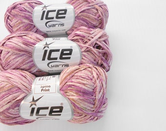 Ice Yarns Spina Print, Pink Novelty Yarn, 3 balls Cotton Acrylic Blend, Y184