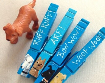 DOG CLOTHESPINS turquoise blue hand painted magnets ruff arf bow wow woof