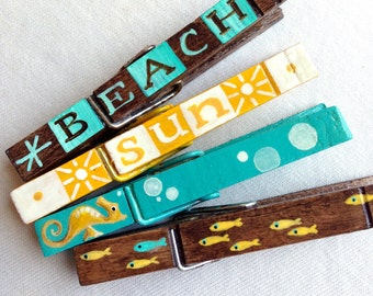 BEACH CLOTHESPIN set hand painted magnets aqua and brown yellow fish  seahorse