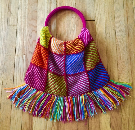 Crochet Fringe Bag : Vintage Crochet Fringe Bag Knit Crochet Purse Granny Square Handbag ...
