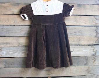 Vintage Children's Brown Velour Dress by Peaches & Cream Size 5