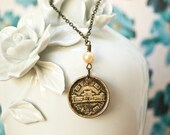 Japanese Coin Necklace, Yen Necklace, Coin Jewelry, Pearl and Bronze, Japan, C4