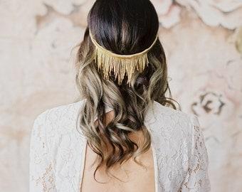 Beaded Fringe Halo, gold, silver, princess, romantic, victorian, bohemian vintage, headband headdress headpiece renaissance, medieval 207 3