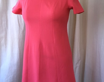 """1960's Pink Dress /Montgomery Ward / Plus Size / Late 60's Mod Minidress in hot pink double knit with brass button yoke detail / 42"""" Bust"""