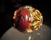 Goddess Diana Carnelian Roman Empire Gold Intaglio Ring (18th to 19th Century) King, Queen, Prince, Princess, Witch, Goddess, Enchanted Lore