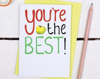 Teacher Thank You Card -  The Best Teacher Card - Card for Teachers