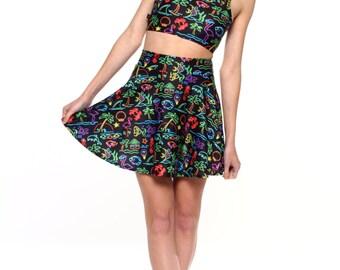 Neon Summer Skater Skirt