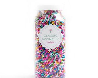 8oz (1 cup) Bottle Rainbow Sprinkles, Gluten-Free, Vegan, Jimmies, Skinny Sprinkles, Canadian Sprinkles