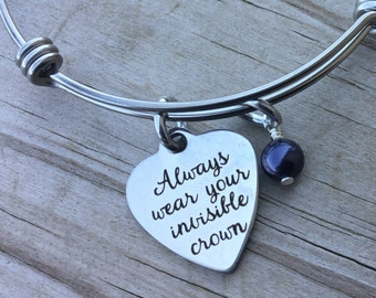"Crown Quote Charm Bracelet- ""Always wear your invisible crown"" laser etched charm with accent bead of you choice"