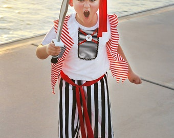DELUXE Boys Pirate Costume- Pirate outfit - Pirate Birthday -Baby Boys-Pirate 1st Birthday- disney Costume-Halloween-7 pc set