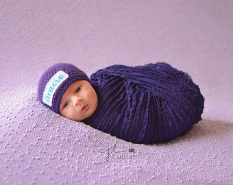 Crochet Baby Personalized Name Cross Stitch Beanie - Newborn to 3 months - Purple - MADE TO ORDER