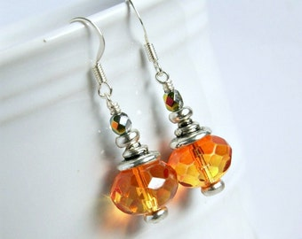 drop earrings, orange, dangle, czech glass earrings, beaded earrings, sparkle