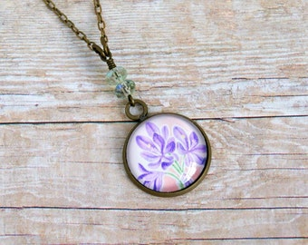 purple lilies antique brass and upcycled stamp pendant necklace, recycled stamp, floral, romantic