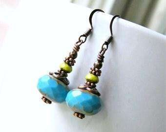 blue drop earrings, dangle earrings, bohemian jewelry, baby blue, copper earrings, gift for her, christmas gift