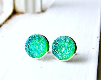 green jellies faux druzy post earrings, silver, green, neon, stud, 12mm,