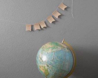 vintage green rand mcnally world portrait globe / raised relief atlas / 12 inch / office / green blue