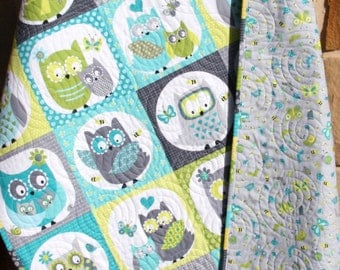 Owl Baby Quilt, Boy Patchwork, Bedding Blanket, Nursery Crib Cot, Gray Teal Green Aqua Blue, Chevron Child Youth, Ready To Ship